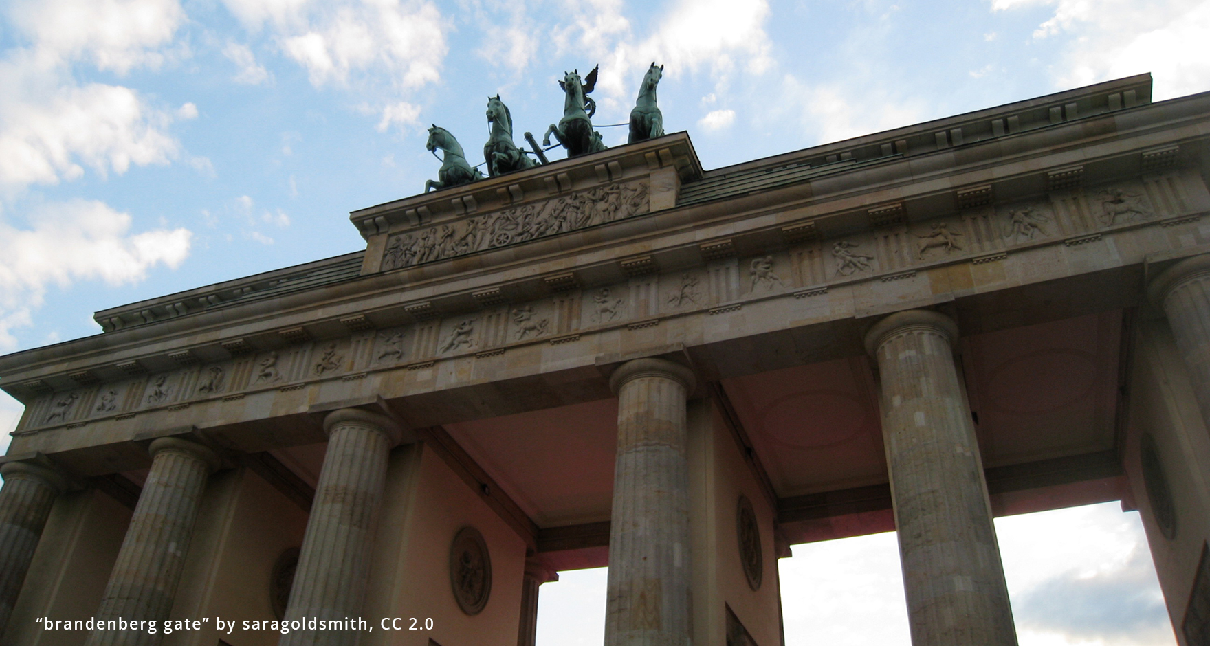 Cropped image of the top of Brandenberg Gate, Berlin, Germany