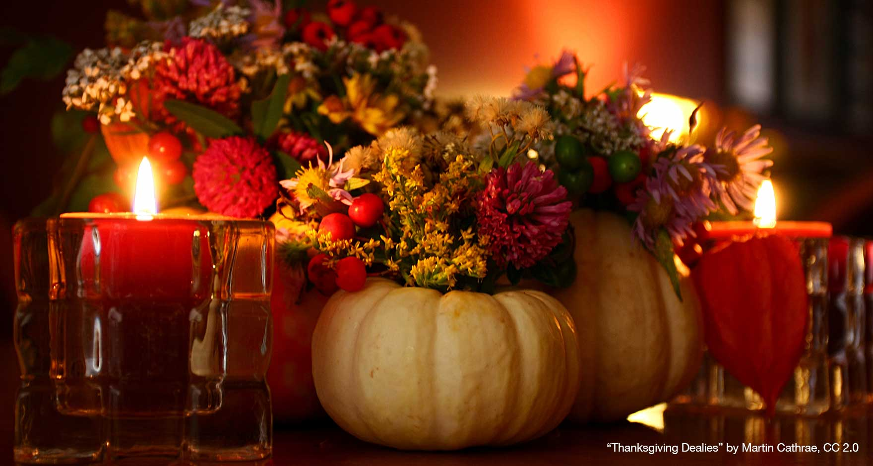 Close up of gourds and candles